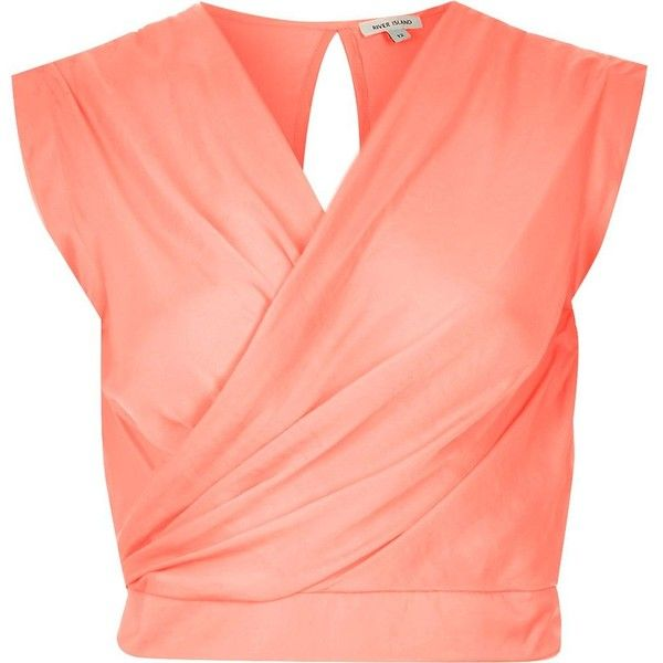 River Island Coral sleeveless wrap crop top ($28) ❤ liked on Polyvore featuring tops, shirts, crop tops, orange, crop top, party tops, orange shirt, red shirt and orange crop top