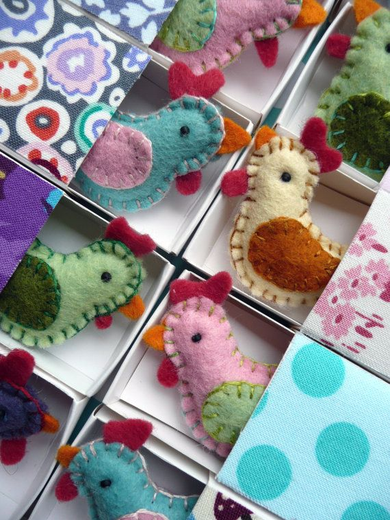These small felt chickens can be quickly and easily made from small pieces felt using only a simple blanket stitch.  Alter the colour combinations and make every one an individual. Use the matchbox template as a base to embellish with your own style and imagination.  Its hard to stop making them once you start. Everyone (especially little people!) will want one...no two...maybe three! Before you know it youll have a wee felty fowl flock to call your own.  While Im happy for you as the…