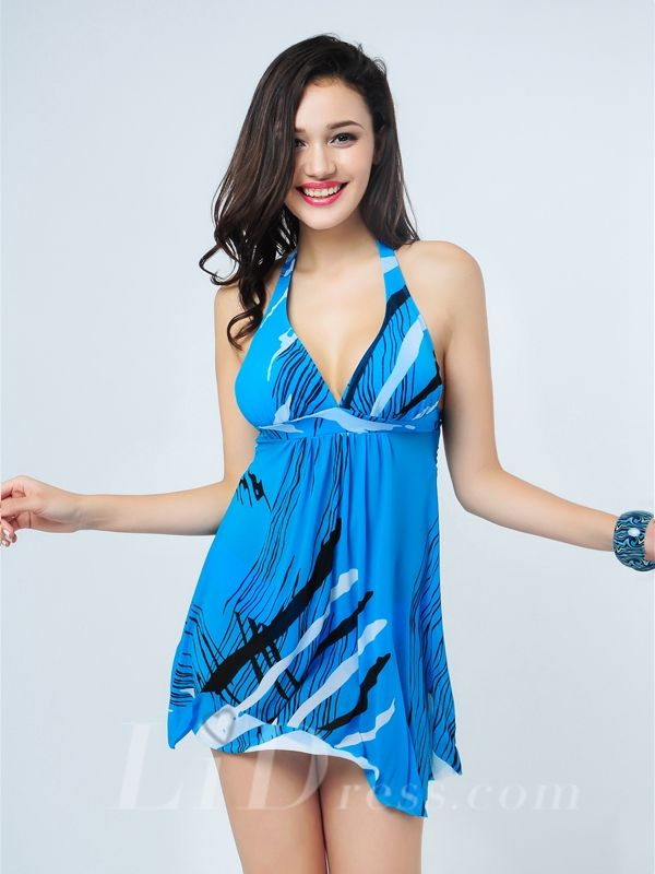 Blue Plus Size Two-Pieces Colorful Print Womens Swimsuit With Skirt Lidyy1605241005