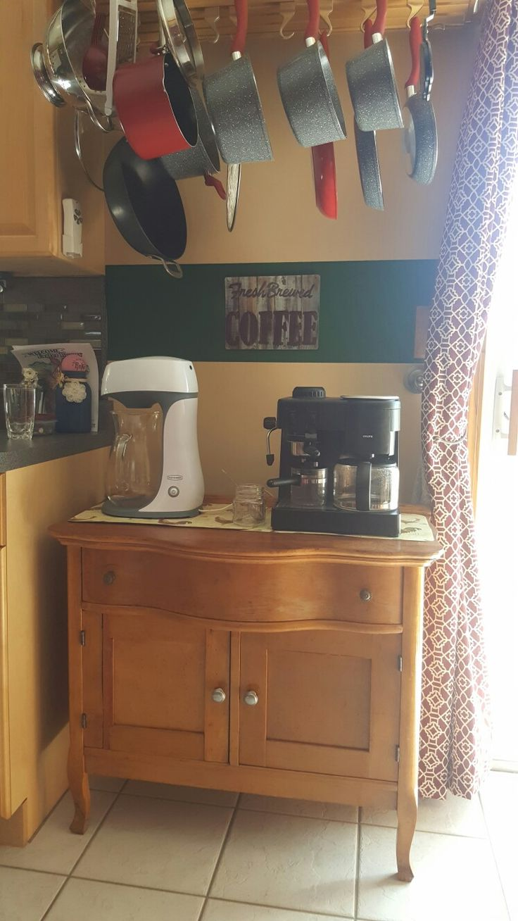 Antique Farmhouse Vanity used for coffee and tea.