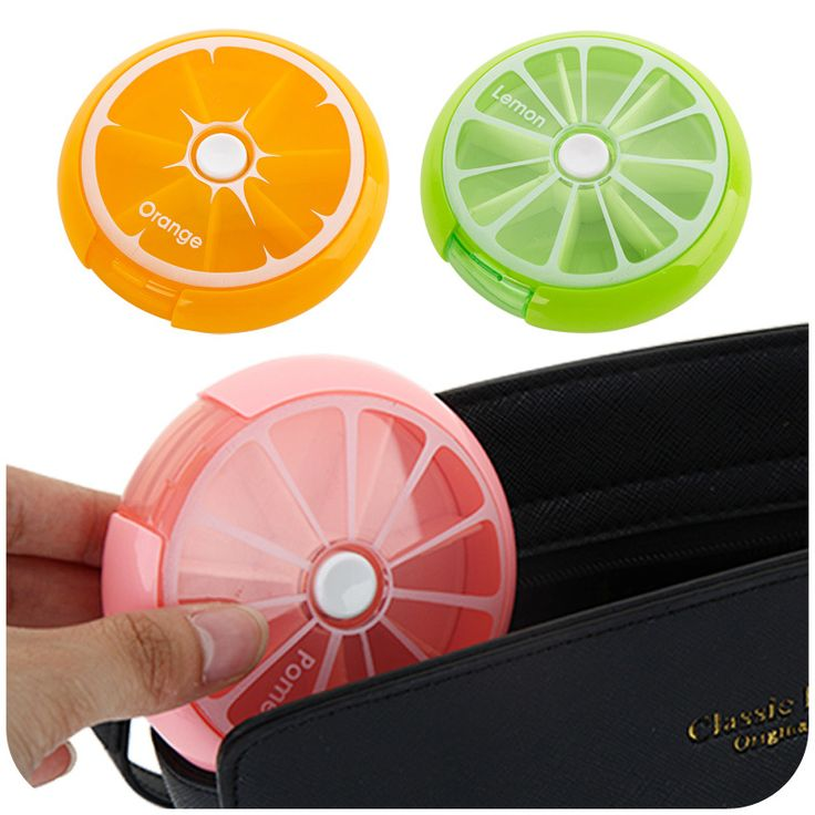 New Fashion Lemon/Orange/Pomelo Weekly Rotating Pillbox Travel Pill Case Pill Organizer portable Medicine Box Drugs #Affiliate