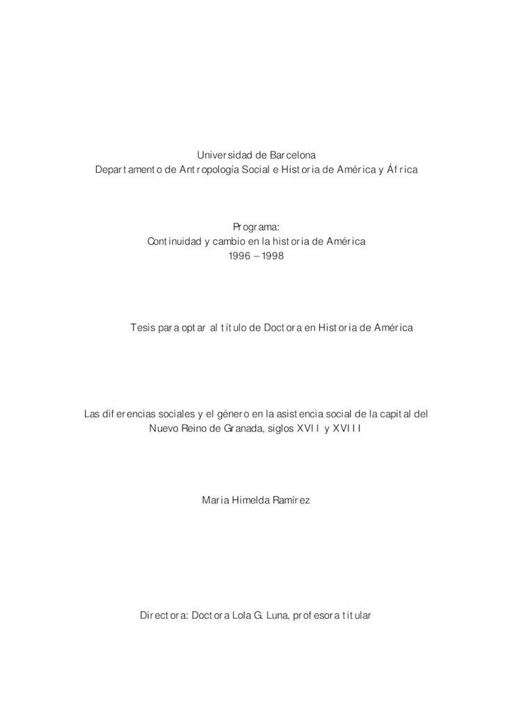 Diferencias sociales y el género en la asistencia social de la capital del Nuevo Reino de Granada, siglos XVII y XVIII, Las
