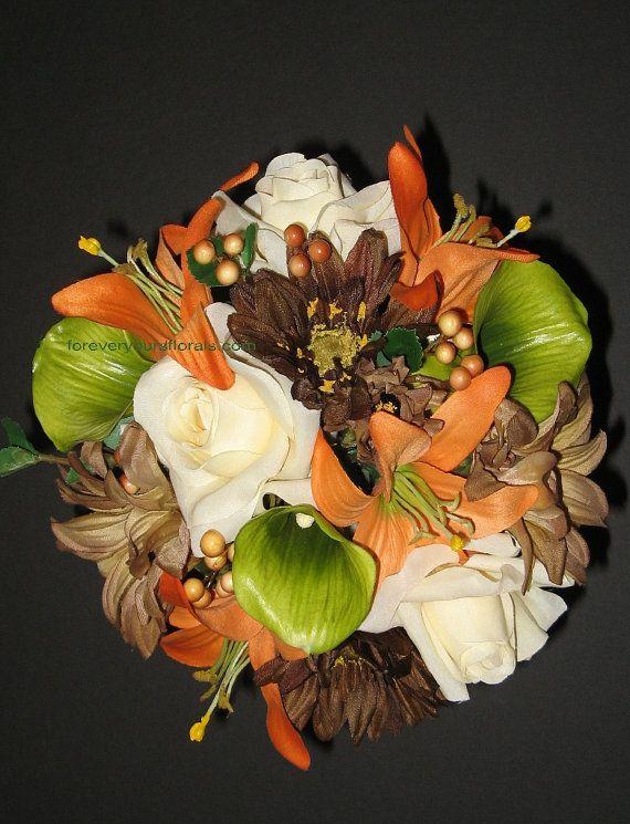 Orange Mossy Oak Wedding Bouquet Set Camouflage by BridalBouquets, $135.00