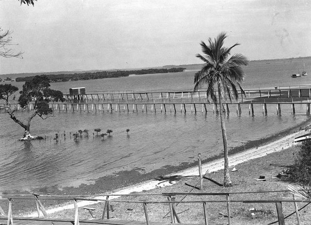 Moreton Bay and the jetty, as seen from Cleveland Point, 1940 by State Library of Queensland, Australia, via Flickr