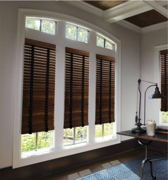 Beautiful Mini Blinds Lowes For Home Decoration Ideas: Brown Mini Blinds Lowes With Cool Desk And Area Rug For Home Decoration Ideas