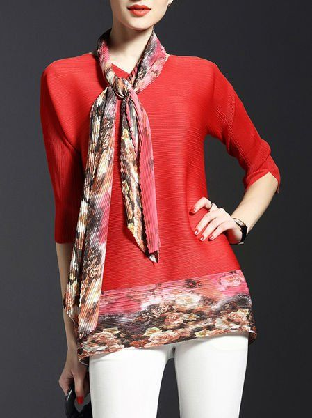 Ribbed Color-block #Tunic with Scarf