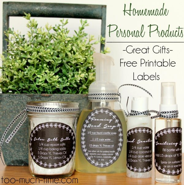 Homemade Goodie Basket using Essential Oils- detox bath salts, hand sanitizer and spray, and hand soap with free printable tags