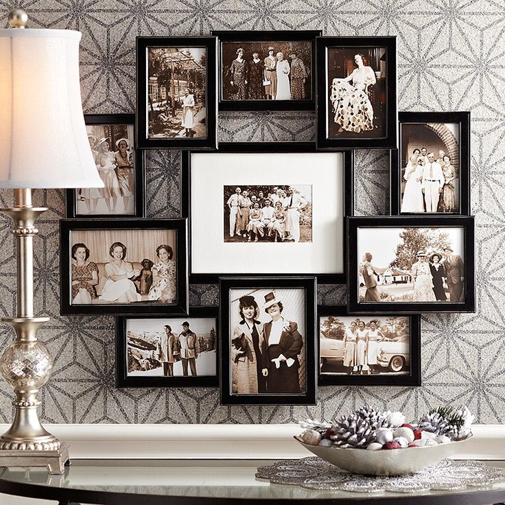 a wood collage frame is a great place to display wedding day memories