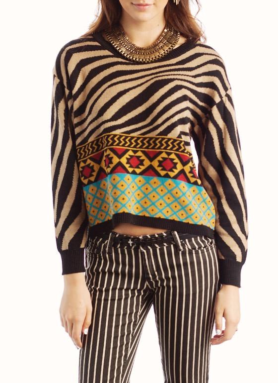 mixed print sweater $36.80
