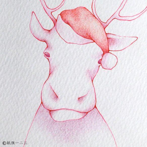 *ハンドメイドクリスマス2013*赤帽子のトナカイ【akaboushi-no-tonakai】サンタさんの赤い帽子を被ったトナカイを描きました使用しているもの...|ハンドメイド、手作り、手仕事品の通販・販売・購入ならCreema。