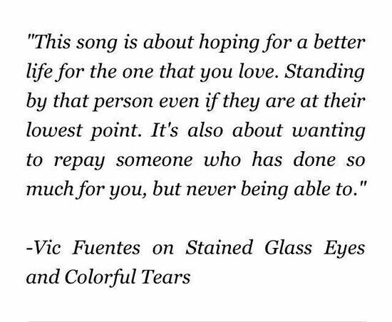 The meaning of stained glass eyes and colorful tears... vic is just amazing..