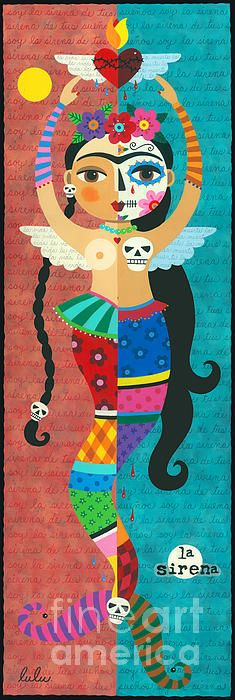 Frida Kahlo Mermaid Angel With Flaming Heart Print by LuLu Mypinkturtle