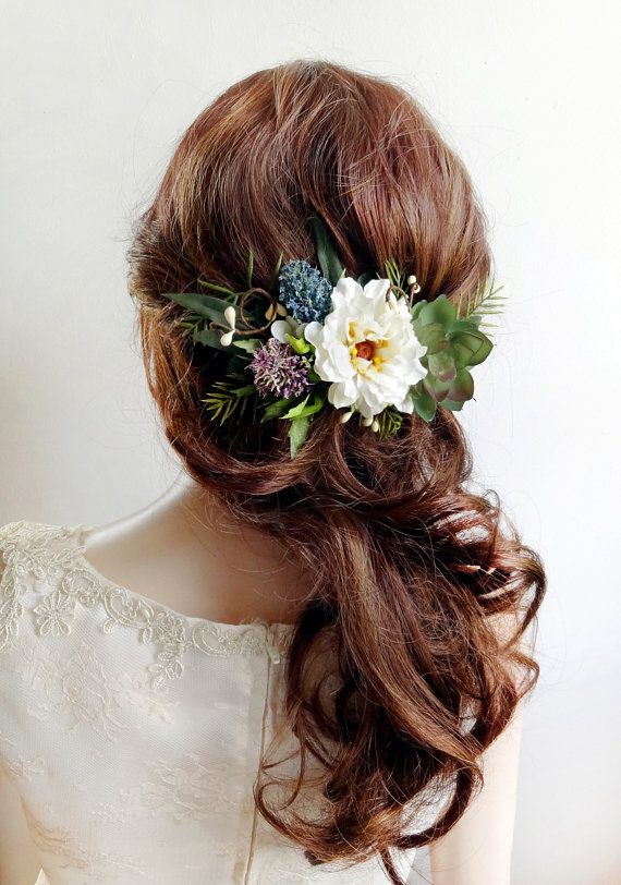 rustic wedding floral headpiece, floral hair clip for wedding, woodland flower hair piece by The Honeycomb