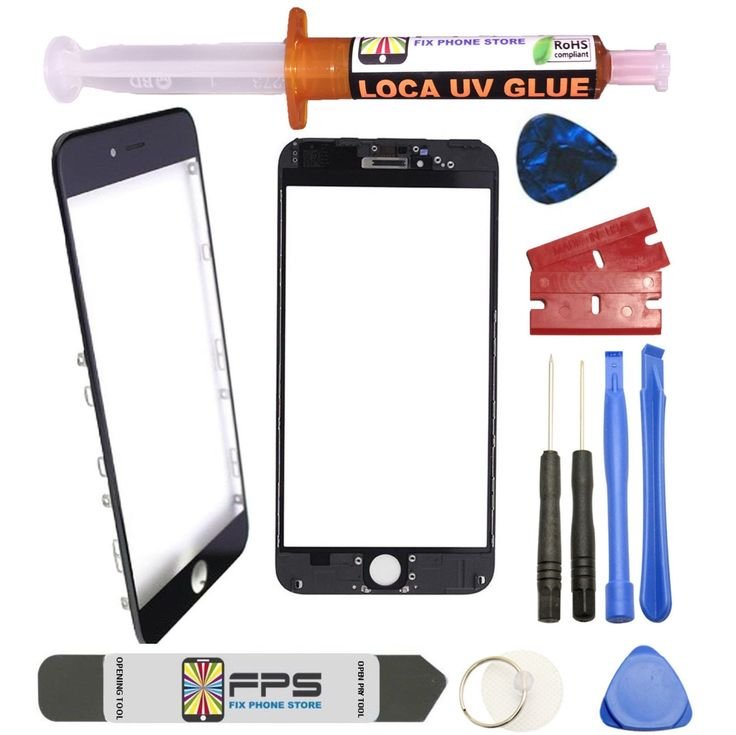 """iPhone 6 4.7"""" BLACK Front Glass Lens with Frame Pre-Installed UV LOCA GLUE Tools"""