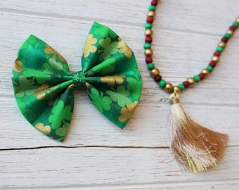 Baby Girl | Newborn | Toddler | Girls St. Patrick's Day Lucky Bow Nylon Headband | Hair Clip | Boy Bow Tie | Pig Tail Bows