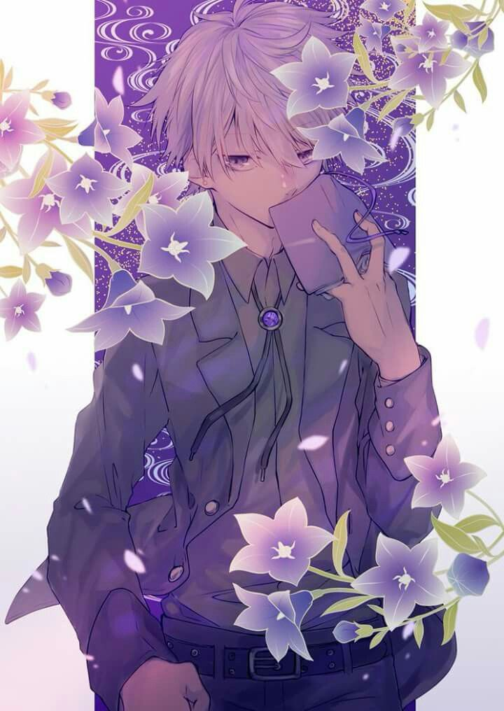Anime Guy Formal White Hair Purple Eyes Flowers Anime Flower Anime Art Anime Purple Hair