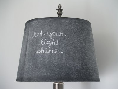 Lampshade covered with chalkboard paint.