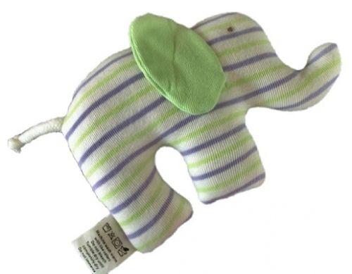 """Koseelefant fra restestoff.Miljøvennlig og økologisk.Striper i lys grønn og lilla. """"Scrappys Elephants""""Under the Nile har et prinsipp om at ingenting skal gå til spille, og lager produkter av avklipp fra klesproduksjon for å unngå avfall og sløseri. Ingen er helt identiske.Disse artige og fargerikekoseelefantene er laget ismal fasong som er enkel å holde. Designet for å bli kost med, tygd på og elsket! * Avklipp fra barneklær*Bløt bomullsjersey* 100% GOTS-sertifisert..."""