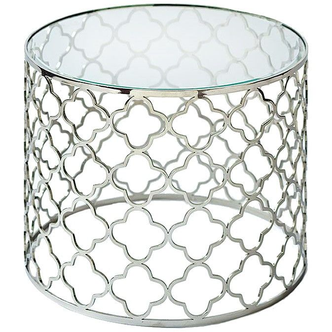 Brushed Nickel Glass Top Table — Bellissimo!