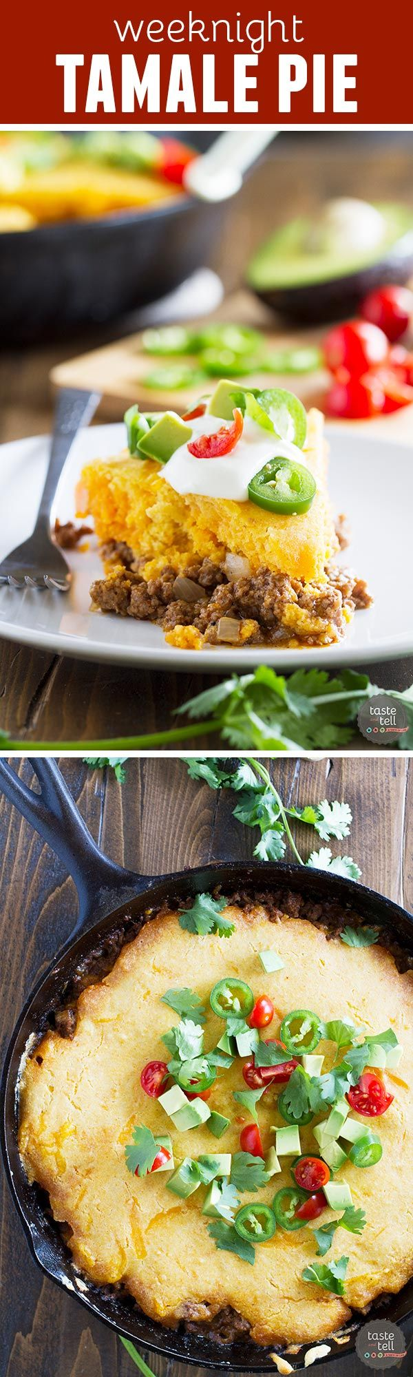 This easy, one skillet Weeknight Tamale Pie Recipe is warm and comforting and super easy. And it's a bonus that it's all made in one skillet!