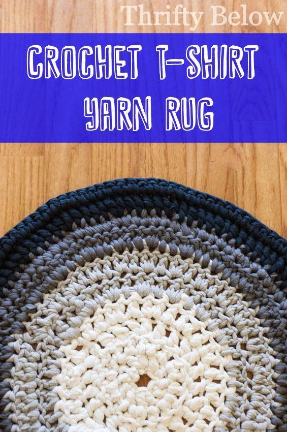 Crocheted T-Shirt Yarn Rug | Thrifty Below