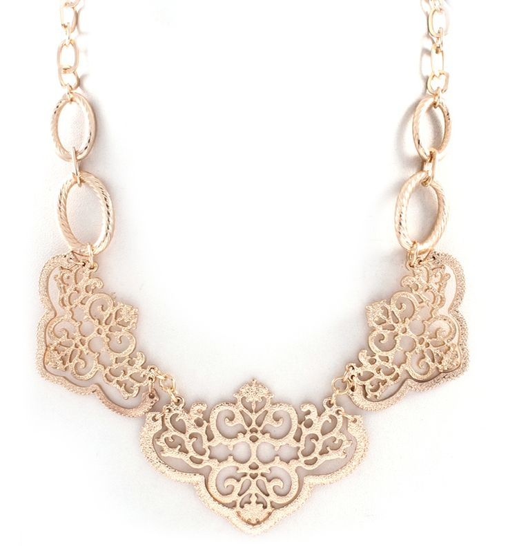 Reagan Necklace in Gold on Gold Filigree on Emma Stine Limited
