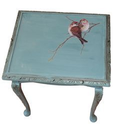 """Birdie"" Cute Little Painted Table - Annie Sloan Provence"