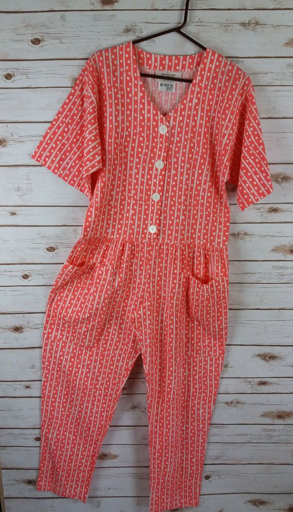 Vintage 80s 90s Bright Coral Jumpsuit S Oversized Beach Big Buttons Coveralls #DavidBrownBoutique #Jumpsuit