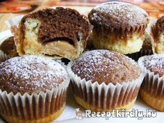 Pudinggal töltött fekete-fehér muffin recept képpel. Elkészítés és hozzávalók leírása, 4 főre, 45 perces, Egyszerű, Olcsó, Vegetáriánus