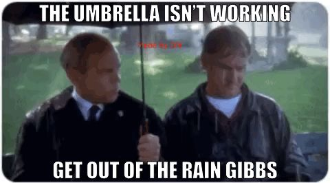 The umbrella isn't working get out of the rain Gibbs