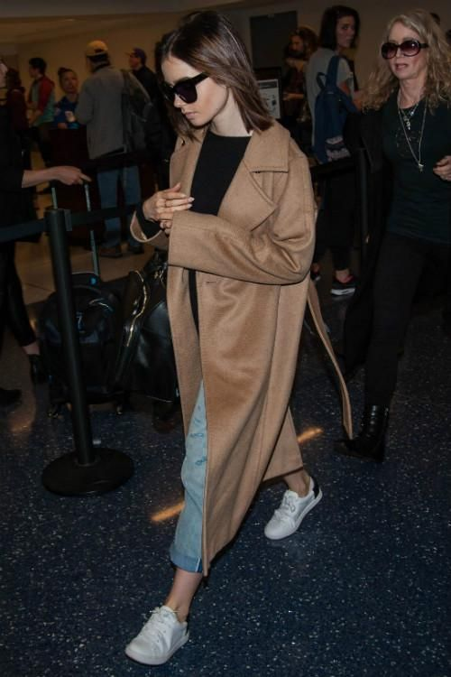 Lily Collins wearing Vince Varin Sneakers and Max Mara Manuela Coat