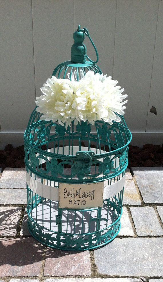 Wedding Reception Birdcage Card Holder, Wedding Card Box, Teal, Turquoise & Ivory on Etsy, $45.00