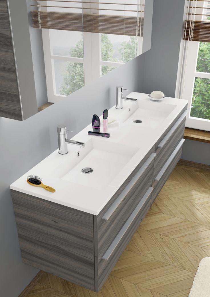 Large (160 cm) bathroom furniture Broni in darker wood structure (ulme lava), with a slim washbasin.