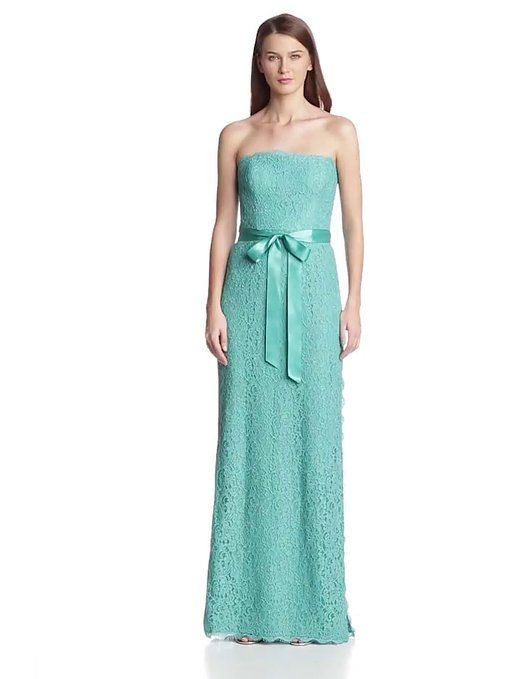 Adrianna Papell Women's Strapless Gown with Side Slit, Jade, 12