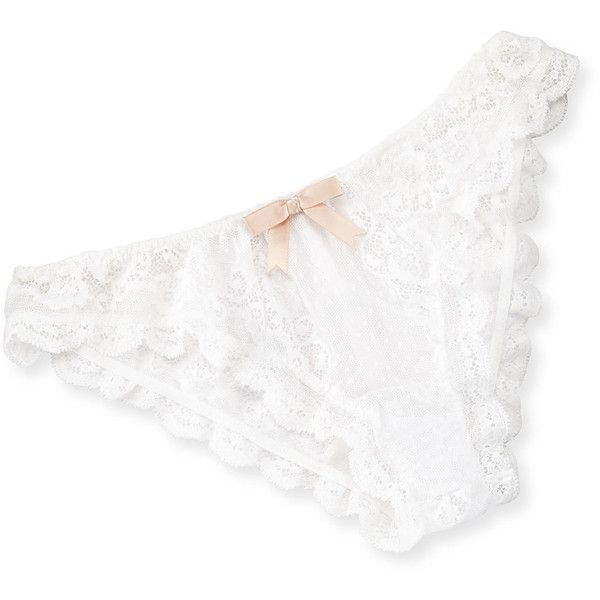 Eberjey Anouk Lace Bikini Briefs (€35) ❤ liked on Polyvore featuring intimates, panties, lingerie, white, tie bikini bottom, white bikini bottoms, lace lingerie, lace bikini bottoms and white lingerie
