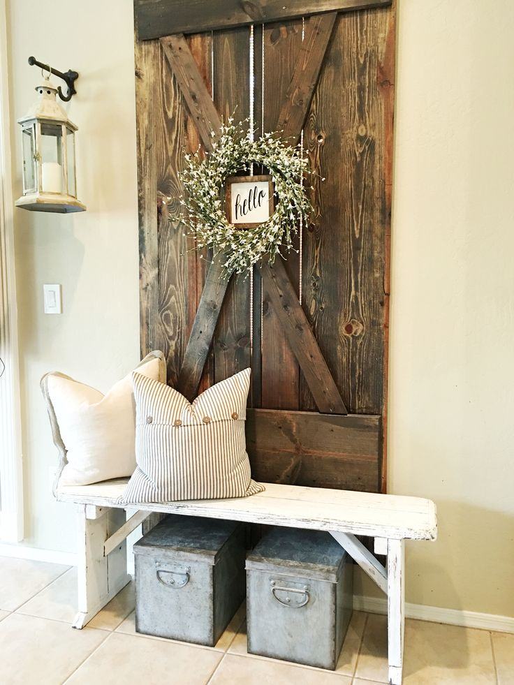 Barndoor . Bench. Farmhouse decor