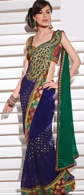 peacock saree - can you imagine all of your beautiful bridesmaids in peacock sarees? I can. :)