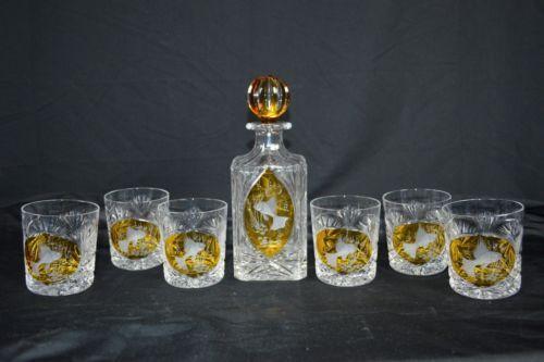 Whiskey-Glass-Decanter-Set-6-Drinking-Glasses-Gold-Yellow-Koi-Fish-Design