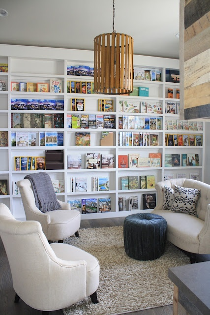 Built In Bookshelves: would be great in a family room. Would need new furniture forth is room, though!