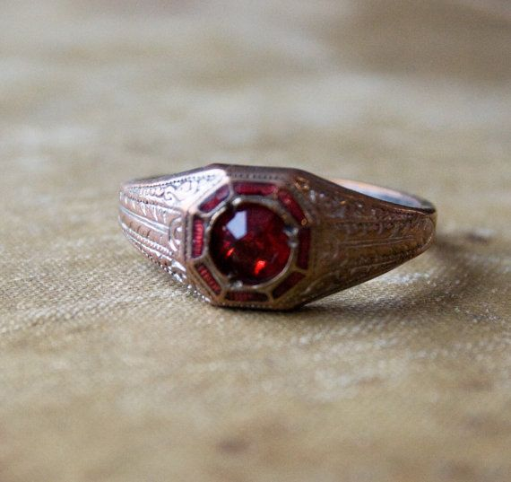 Art Deco Ring - Engagement Style Ring - 1920s Jewelry - Ruby Red Glass Jewel Ring - with Red Enamel and brass. $75.00, via Etsy.