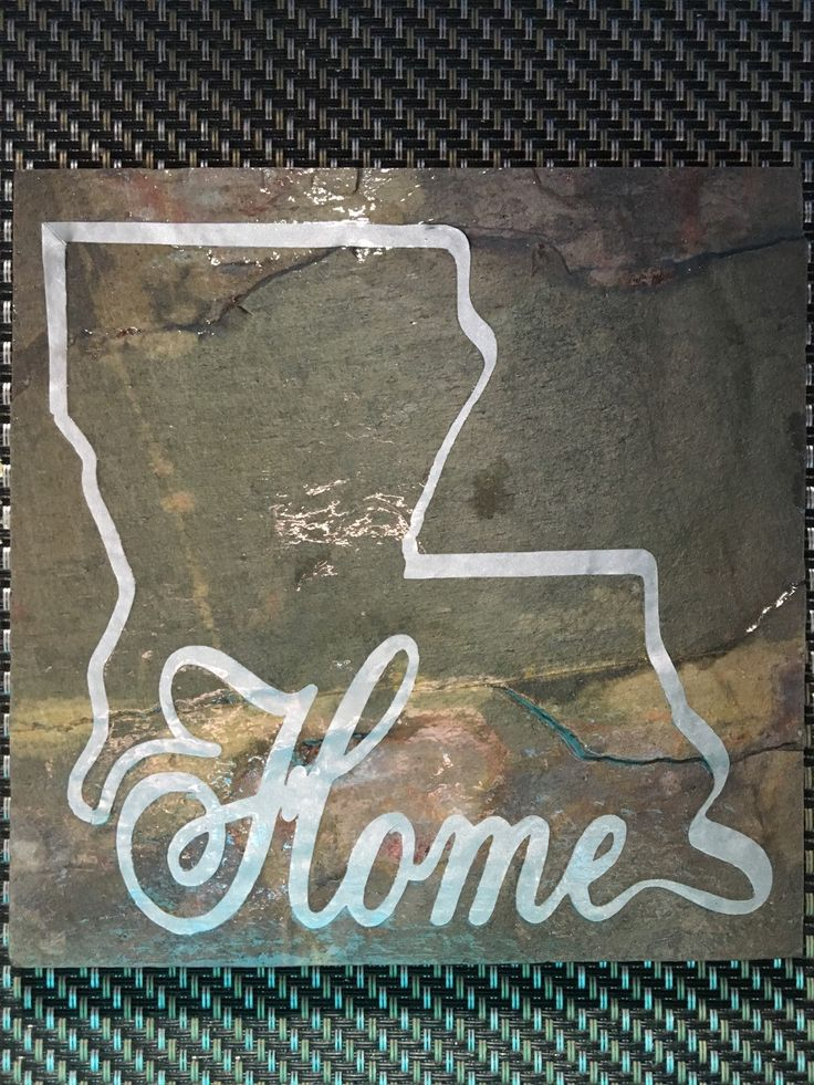 Slate Tile with Vinyl Louisiana Home Decal Wall Decor by AuntiesCreationsNOLA on Etsy