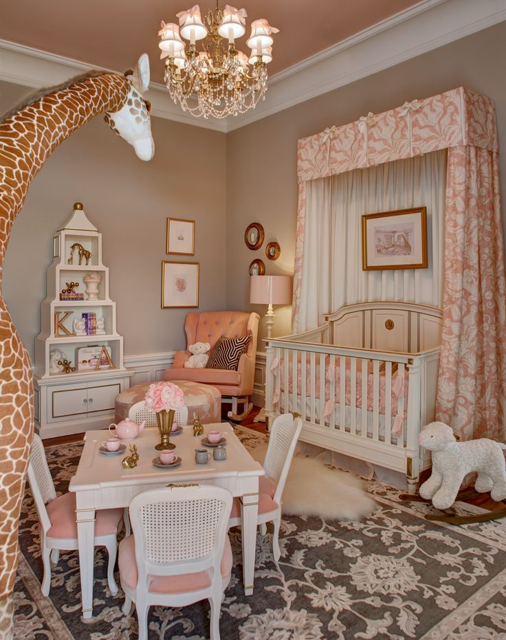 Coral and gray curtains - Girls Nursery Design By Kristin Ashley Interiors For The Mansion In