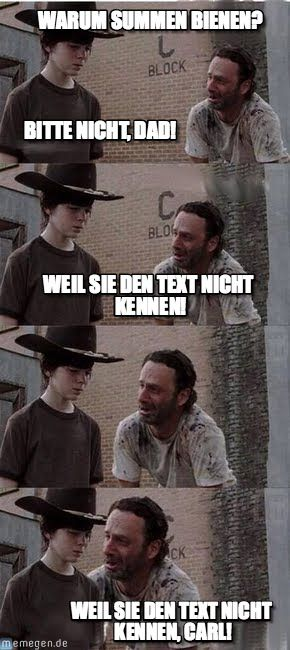 carl walking dead warum summen bienen bitte nicht dad weil sie den text nicht kennen weil. Black Bedroom Furniture Sets. Home Design Ideas
