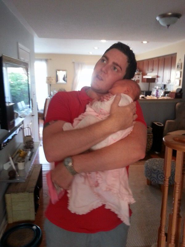 New Dad Blake with baby Lyla.
