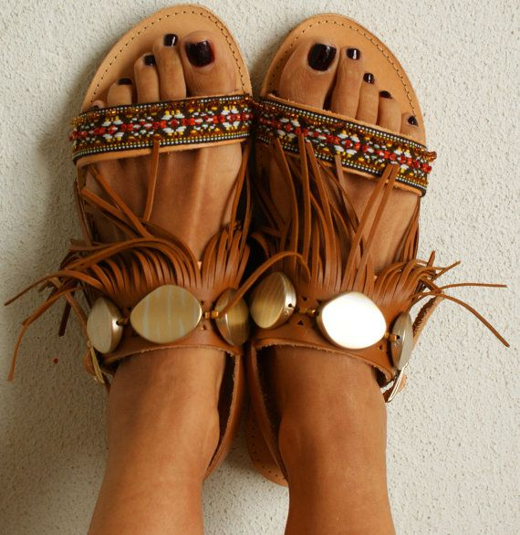 Ethnic sandals/ Tribal sandals/ Handmade decorated by magosisters