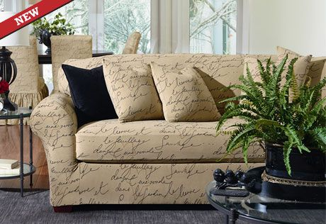 Sure Fit Slipcovers Stretch Pen Pal by Waverly™ Separate Seat Slipcovers - Sofa