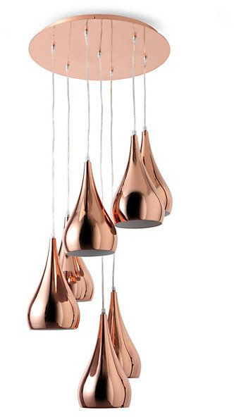 Teardrop 7 Light Pendant - Copper