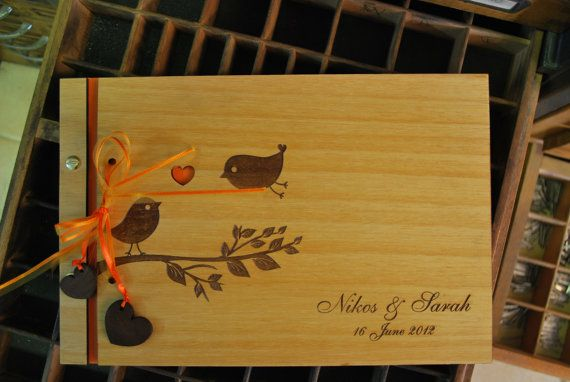 wood wedding guest book with ribbon photo album by WoodYourDay