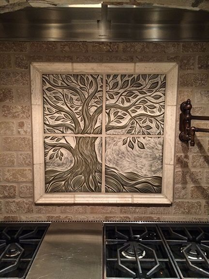 Handmade Ceramic Kitchen Backsplash Tile By Natalie Blake