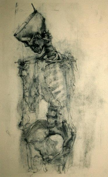 "Incredible drawing by a US artist on deviantart called David Smith (napoleoman). Title ""Charcoal and Bone""."